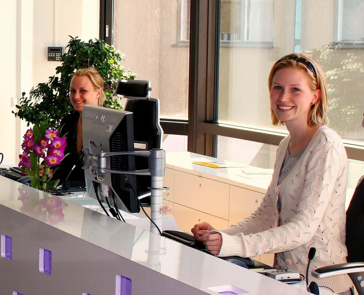 Beyond the reception desk